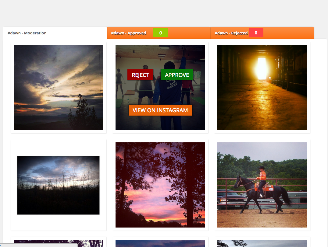 backend moderation panel to embed instagram feed