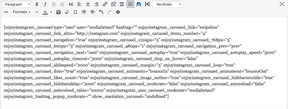 shortcode to insert more customizations with Enjoy Instagram premium