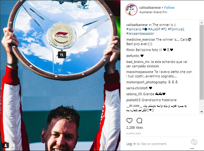Motorsport photographer Callo Albanese use the hashtag #iamcallo in every post of his Instagram feed. He also tag influencing account (for instance, @f1)
