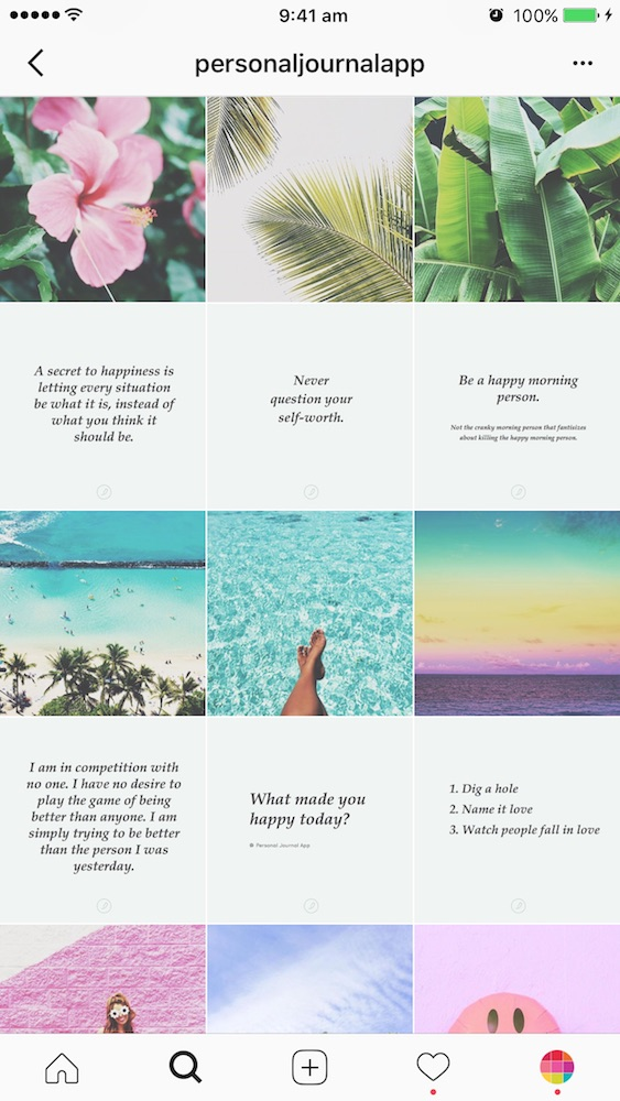 Example of horizontal line or row by row Instagram Grid layout