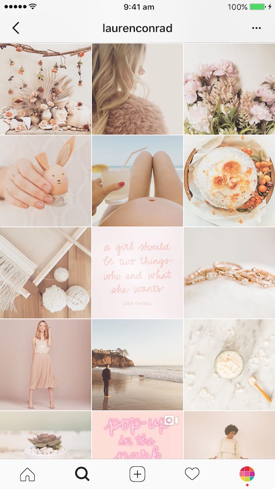 Screenshot by Instagram @laurenconrad profile - Example of bright-vintage style for an Instagram grid