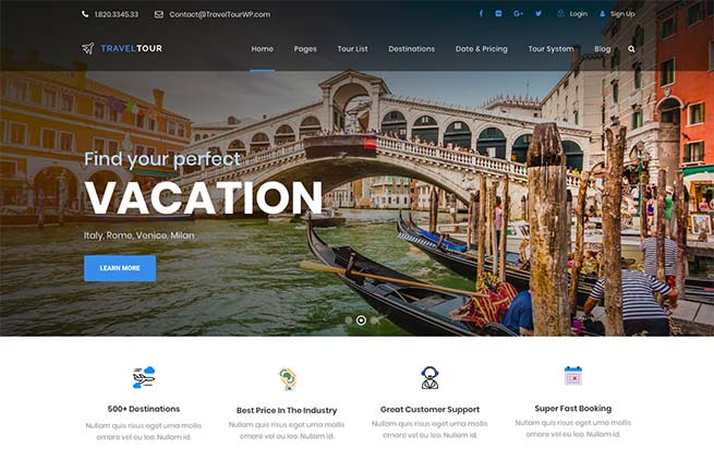 7 Best Selling WordPress Themes for Travel and Tourism in 2018