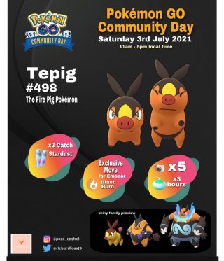✨TEPIG COMMUNITY DAY! ✨ As highly expected, Tepig has been announced as the next Community Day Pokémon for July. Shiny release, Blast Burn for Emboar, X3 Catch Stardust and a bunch of other goodies. Are you glad we're going back to the usual community day Pokémon? ✨ • • • • • • • • • • • • • • • • #pokemongo #pokemon #arplus #gaming #games #mobilegames #teamvalor #teaminstinct #teammystic #pokemongoapp #pokemongonews #pogo #shiny #shinyhunt #communityday #infographic #anime #follow #followforfollowback #l4l #pokemongo