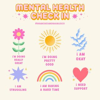 reminder to check in with yourself & others around you! 💖 haven't done a mental health check in on here in a while so here ya go! 🌿 right now I am doing okay 🌿🥰 also - I am not a therapist but if you are in need of support or are in a crisis, please refer to the crisis hotline in the link in my bio 🧡 . . . . . . . . . #branchesandbaublesco #mentalhealth #mentalhealthcheckin #mentalhealthadvocate #mentalhealthmatters #positivity #positiveart #positivequotes #happycolors #letteringartist #yourfeelingsarevalid #keepgoing #youmatter #infographic #support #encouragement #procreateartist #digitalillustration #digitalart #visualstyle #visualgraphic #graphicdesign #floraldesign #doodles