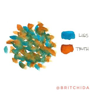 """The mindf•ck, the gaslight, the family history. The explanation, the education, the deeply held beliefs. Image Description: a round area of blue and rust paint dabs all mixed together and overlapping. Blue is labeled """"lies"""" and rust is labeled """"truth."""""""